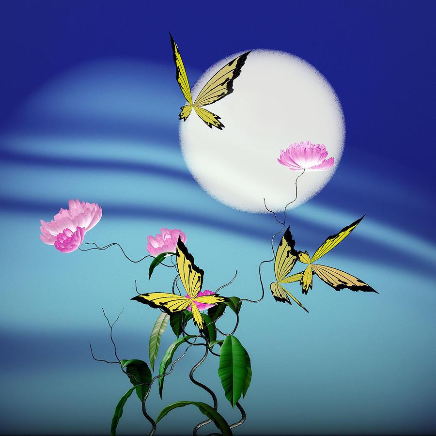 Math Peony And Butterfly Digital Art