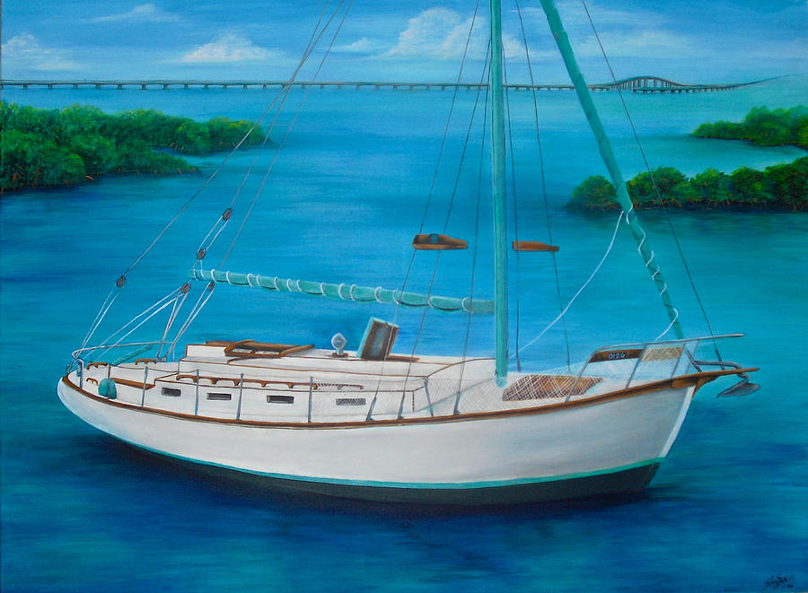 Sailboat Painting - Matilda in the Florida Keys by Jacqueline Endlich
