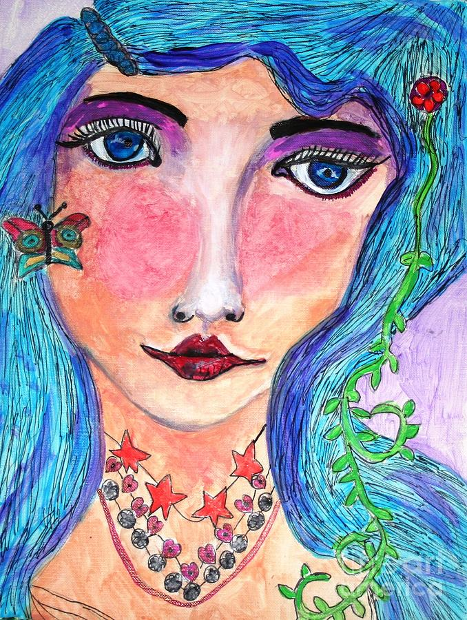 Hippie Girl Painting - Matilda by Victoria Hasenauer
