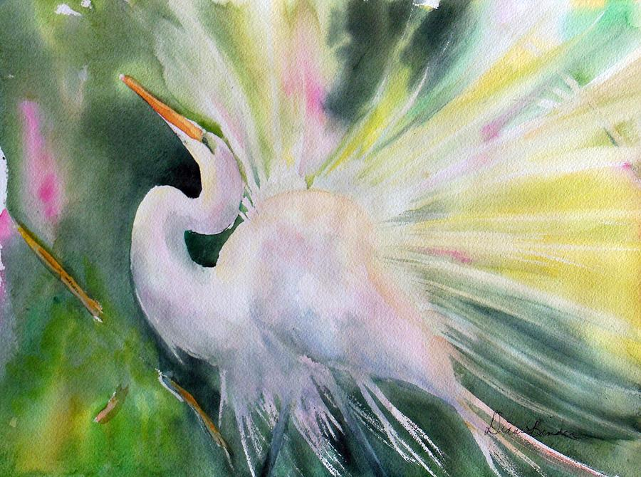 Egrets Painting - Mating Season, Egrets wanted, water birds of elegance,  by Diane Binder