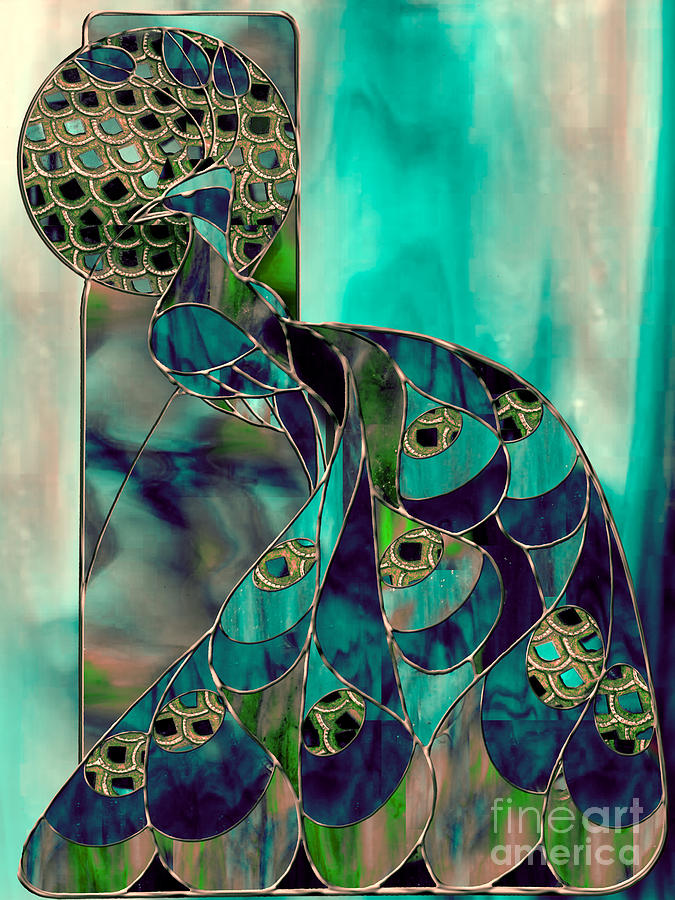 Mating Season Stained Glass Peacock Painting