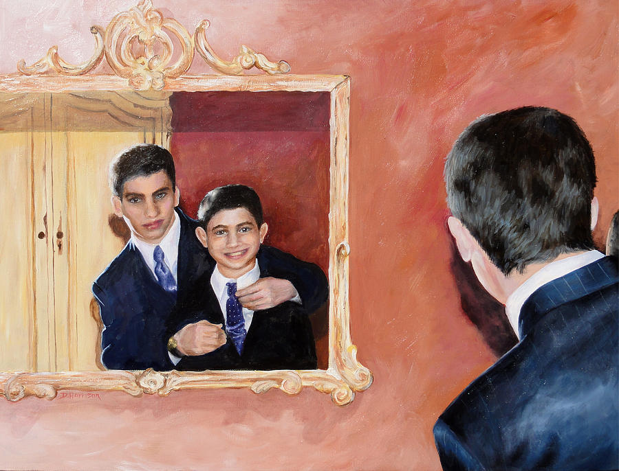 Matt Painting - Matt And Perry by Denise H Cooperman