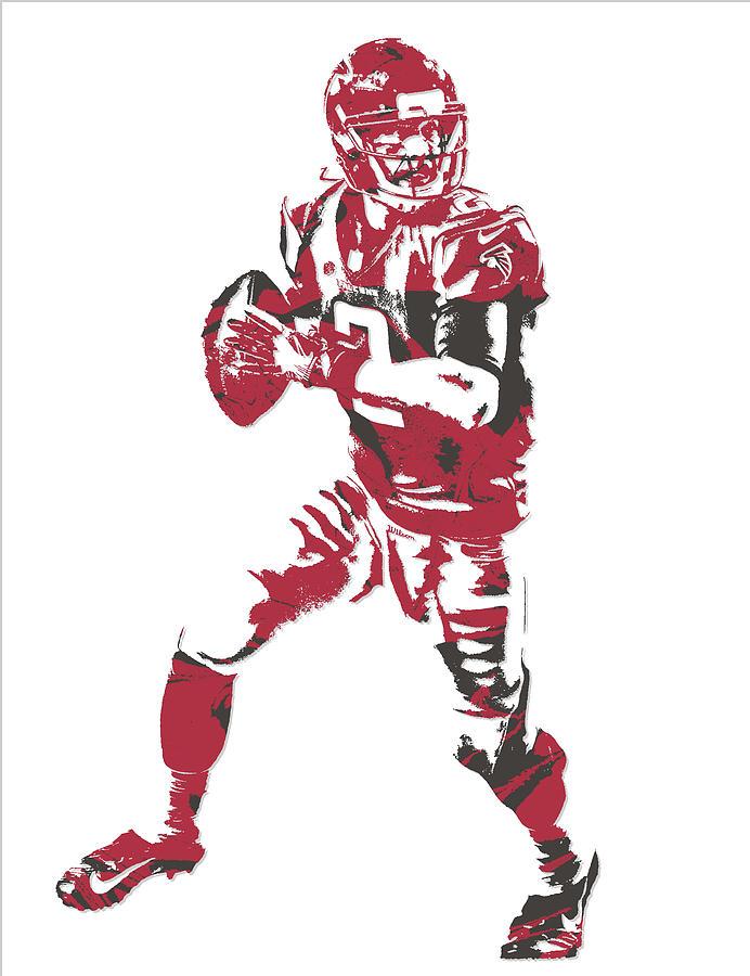 Matt Ryan Mixed Media - Matt Ryan Atlanta Falcons Pixel Art 5 by Joe Hamilton