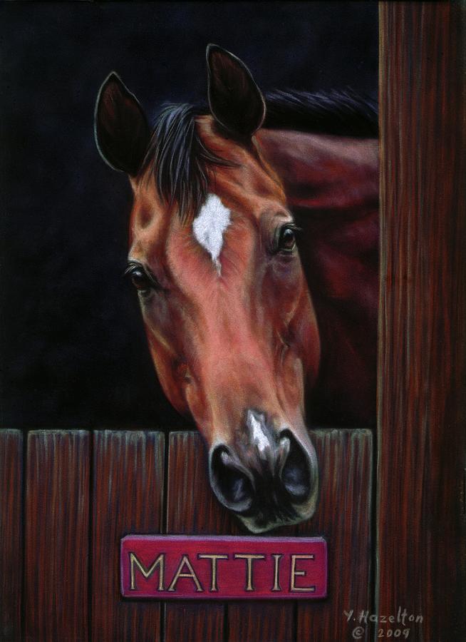 Thoroughbred Pastel - Mattie - Horse Portrait by Yvonne Hazelton