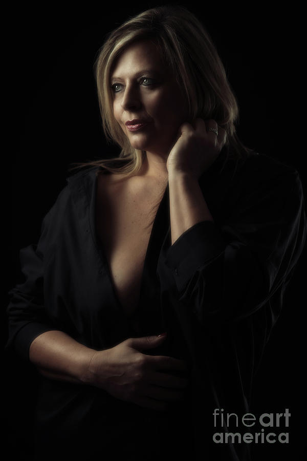Mature Woman In Black Shirt Photograph By Amanda Elwell