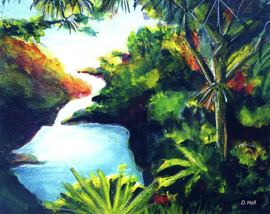 Maui Painting - Maui Seven Sacred Falls #184 by Donald k Hall