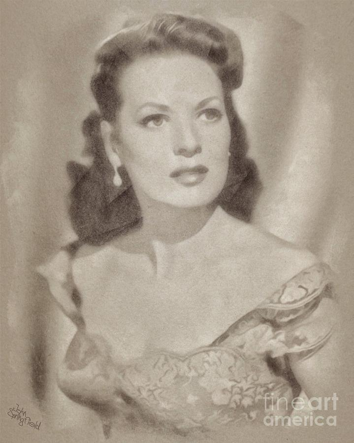 Maureen Ohara, Vintage Hollywood Legend Drawing