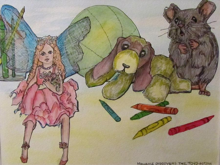 Toys Drawing - Maurice Discovers The Toys by Barbara OToole