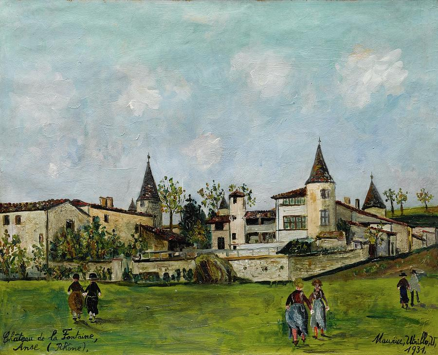 Historical Places Painting - Maurice Utrillo 1883 - 1955 CASTLE OF LA FONTAINE, ANSE RHONE by Artistic Rifki