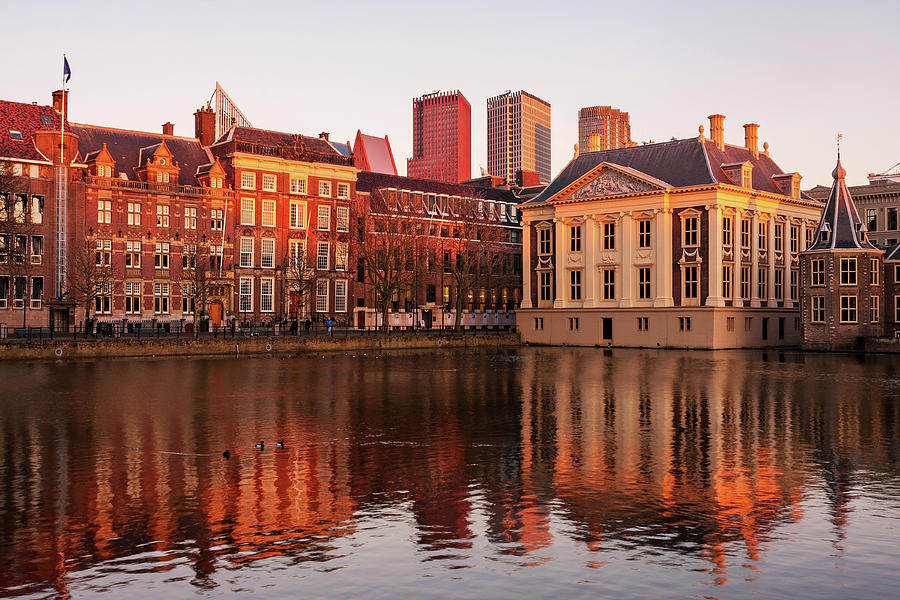 The Hague Photograph - Mauritshuis and Hofvijver at Golden Hour - the Hague by Barry O Carroll