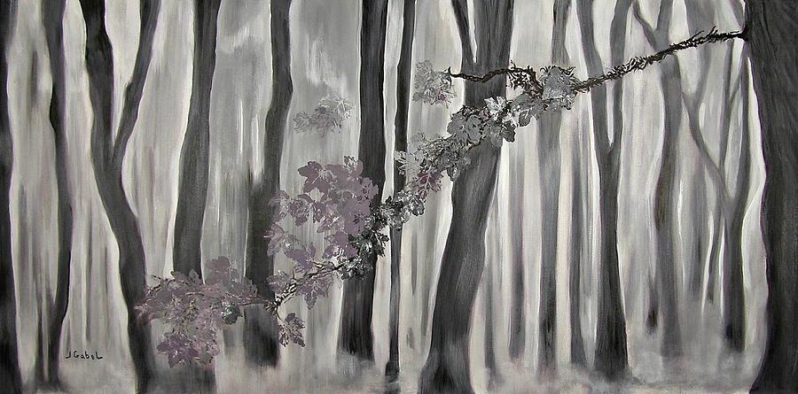 Landscape Painting - Mauve Leaves by Laura Gabel