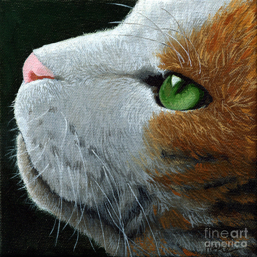 Yellow Cat Painting - Max - Neighbor Cat Painting by Linda Apple