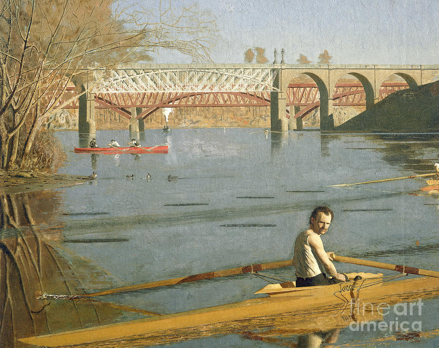 Max Painting - Max Schmitt in a Single Scull by Thomas Eakins