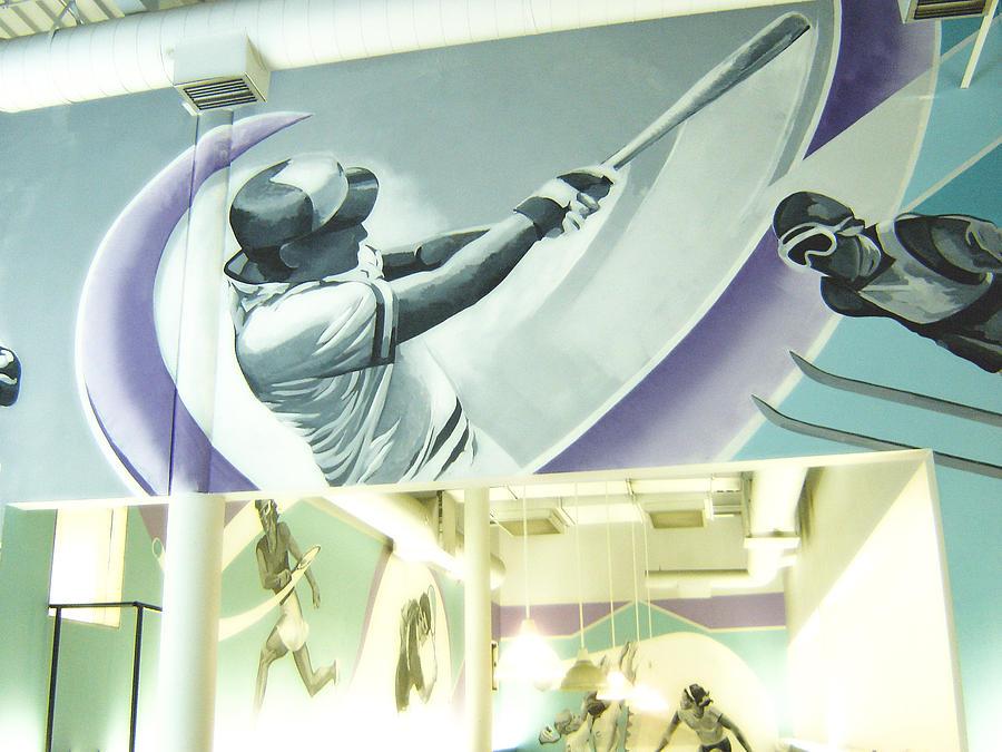 Tim Heimdal Painting - Maximum Fitness Baseball Player Detail by Tim  Heimdal