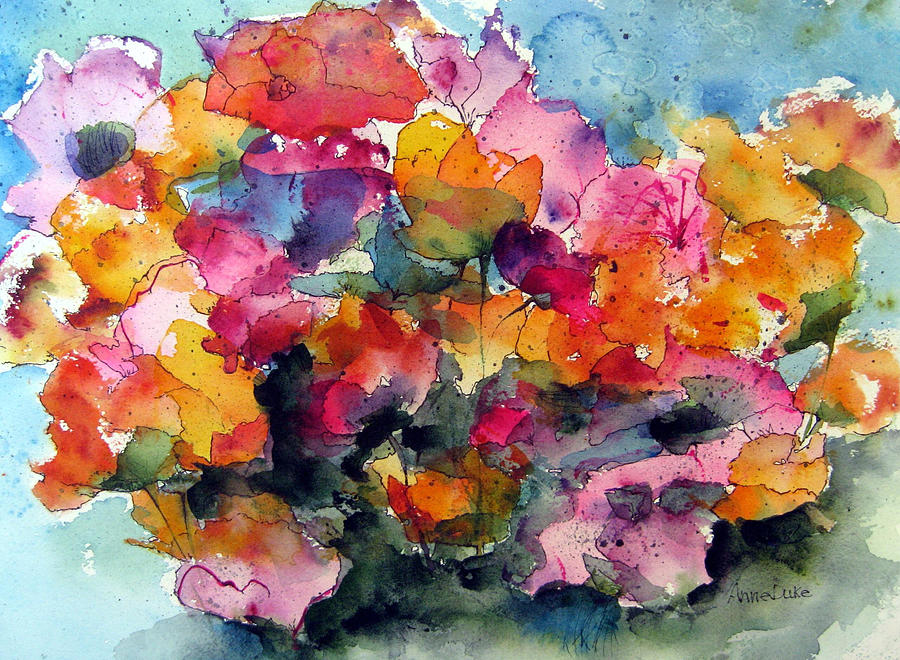 Floral Watercolor Painting - May Flowers by Anne Duke