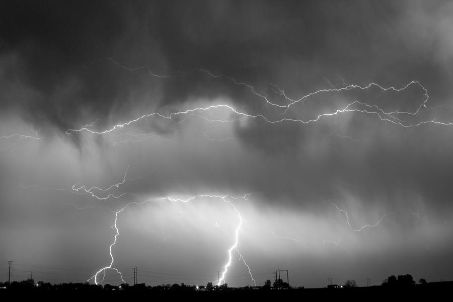 Lightning Bolt Photograph - May Showers - Lightning Thunderstorm  Bw 5-10-2011 by James BO  Insogna