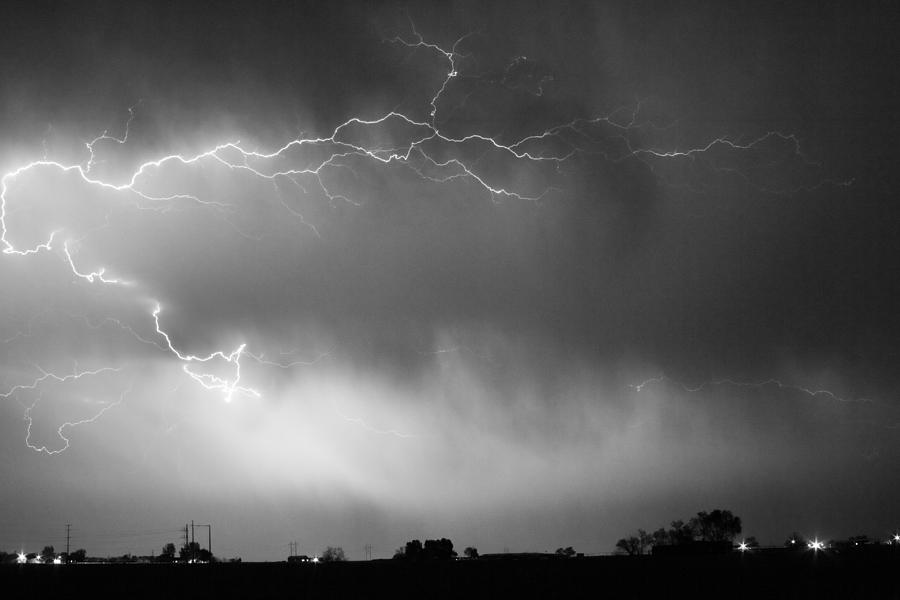 Lightning Bolts Photograph - May Showers 2 In Bw - Lightning Thunderstorm 5-10-2011 Boulder C by James BO  Insogna