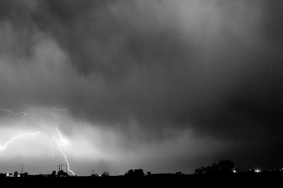 Lightning Bolts Photograph - May Showers 3 In Bw - Lightning Thunderstorm 5-10-2011 Boulder C by James BO  Insogna