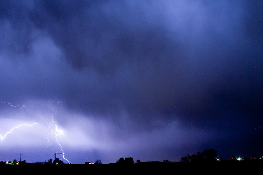 Blue Sky Photograph - May Showers 3 In Color - Lightning Thunderstorm 5-10-2011 Boulde by James BO  Insogna