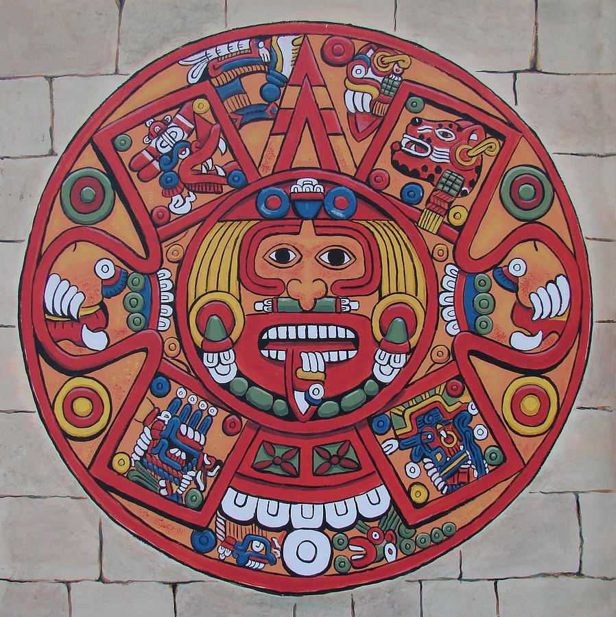 Mayan calendar painting by bob gregory for Aztec mural painting