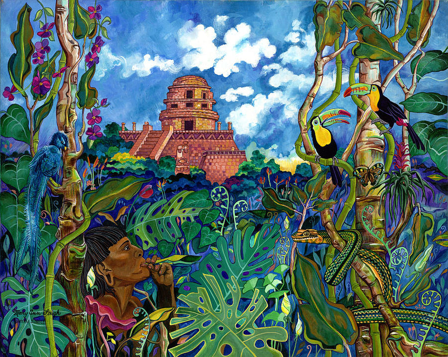 Scenery Painting - Mayan Jungle Scene - Yucatan by Mary Ann Gough