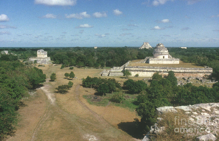 Ancient Photograph - Mayan Observatory, Mexico by Granger