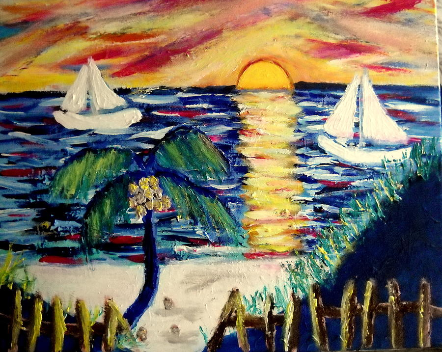 Mayan Sunset Painting by Ted Hebbler