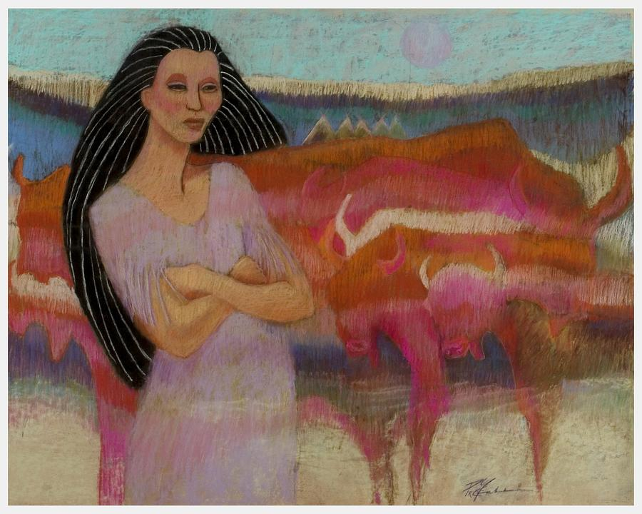 Mayan Tending Her Cattle In Tulum Pastel by Pamela Mccabe