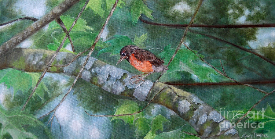 Fledgling Painting - Maybe Tomorrow by Mary Hughes