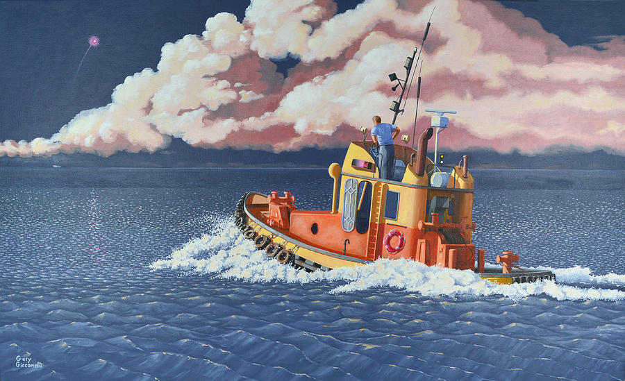 Tug Painting - Mayday- I Require A Tug by Gary Giacomelli
