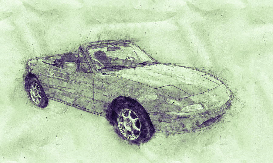 Mazda Mx-5 Miata 3 - Mazda Roadster - Automotive Art - Car Posters Mixed Media
