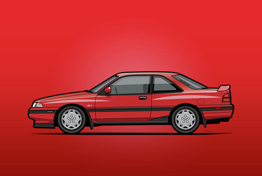 All Rights Reserved Digital Art - Mazda Mx6 Gt Red by Monkey Crisis On Mars