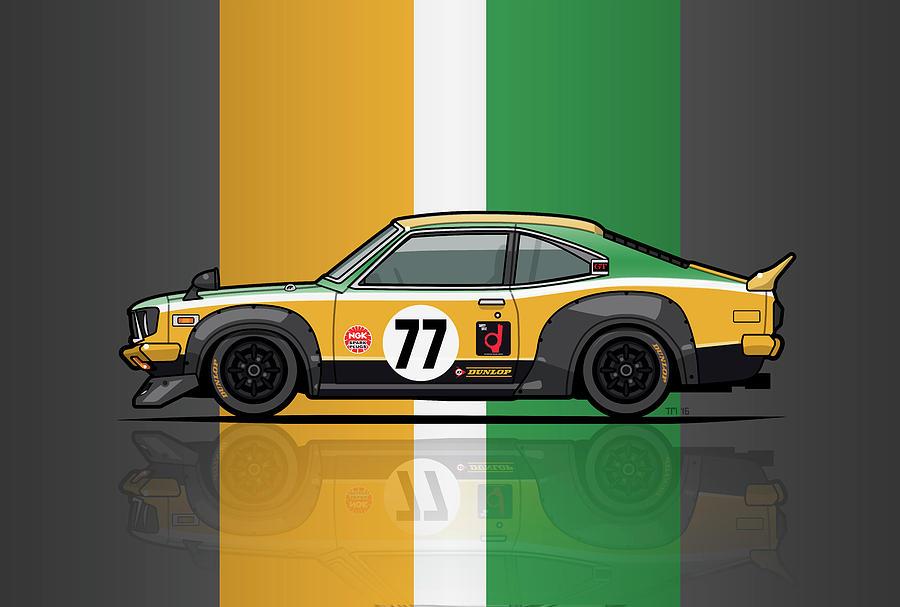 Car Digital Art - Mazda Savanna Gt Rx3 Racing Yoshimi Katayama 1975 by Monkey Crisis On Mars