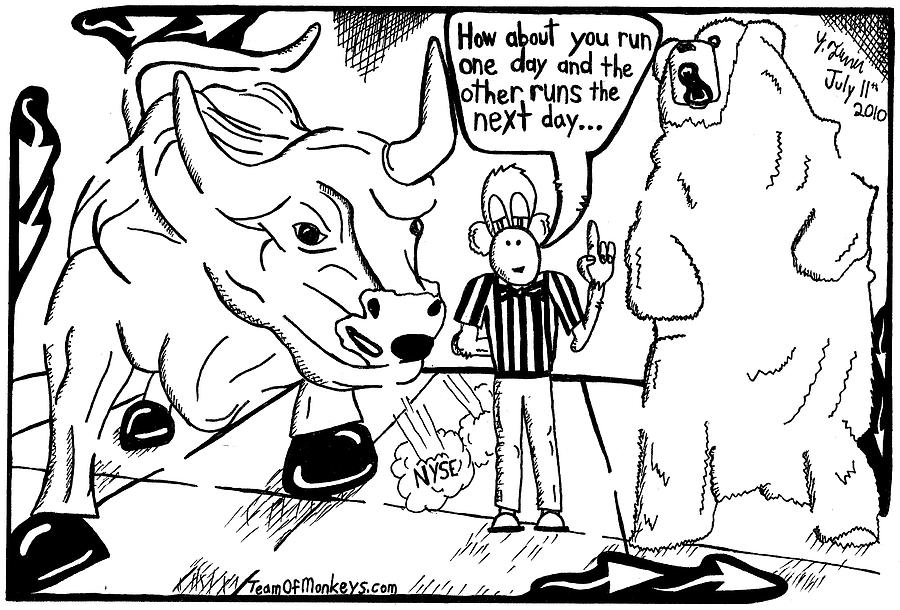 Maze Drawing - Maze Cartoon Of Bulls And Bears At Nyse Yonatan Frimer by Yonatan Frimer Maze Artist