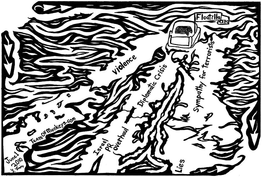 Flotilla Drawing - Maze cartoon of Gaza flotilla by Yonatan Frimer by Yonatan Frimer Maze Artist