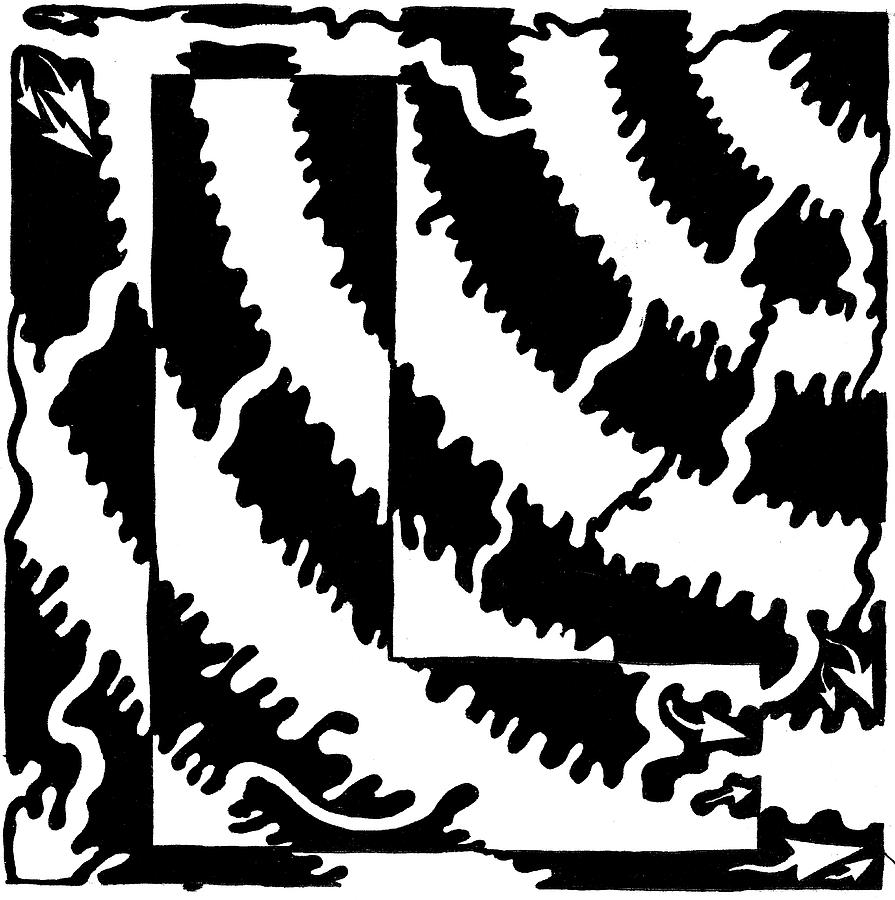 Maze Drawing - Maze Of The Letter L by Yonatan Frimer Maze Artist