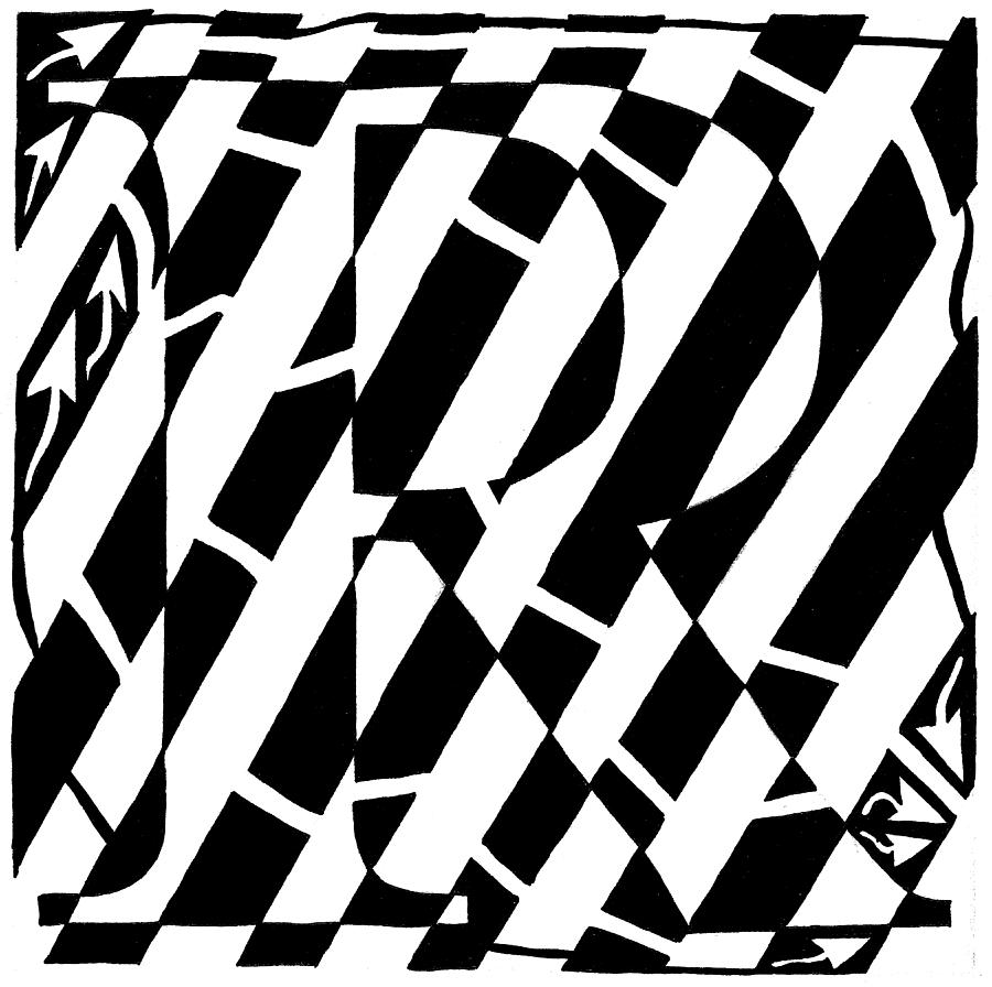 R Drawing - Maze Of The Letter R by Yonatan Frimer Maze Artist
