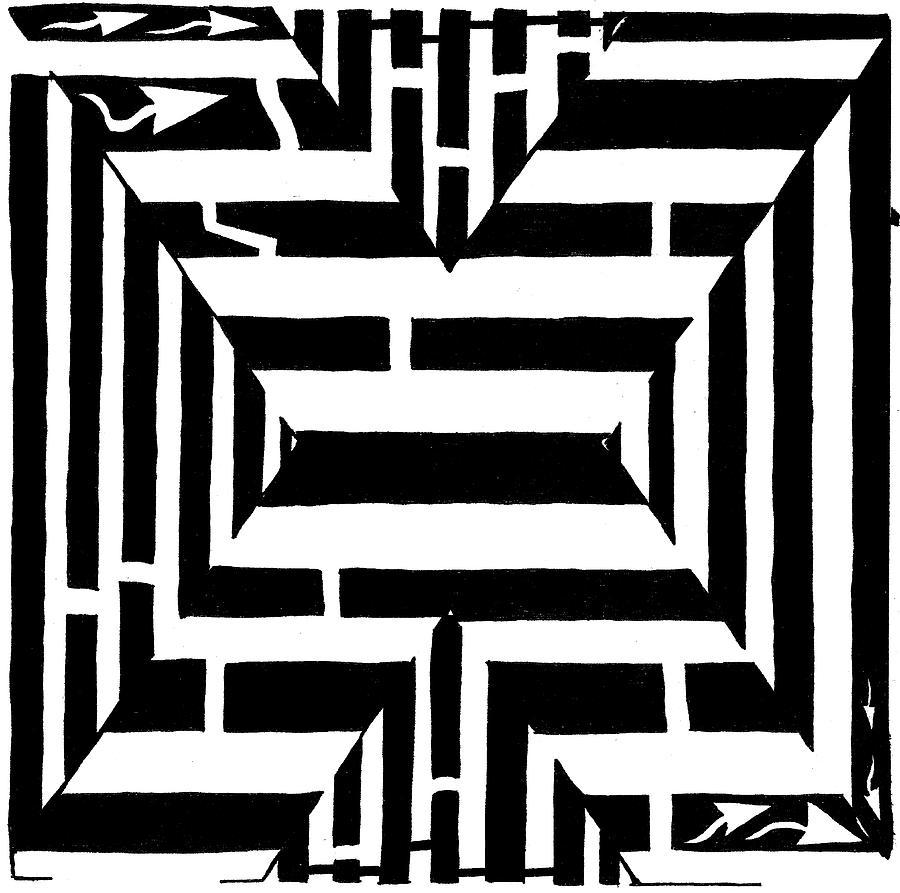 Maze Drawing - Maze Of The Letter X by Yonatan Frimer Maze Artist