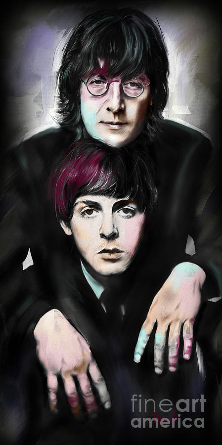 The Beatles Painting - McCartney and Lennon by Melanie D