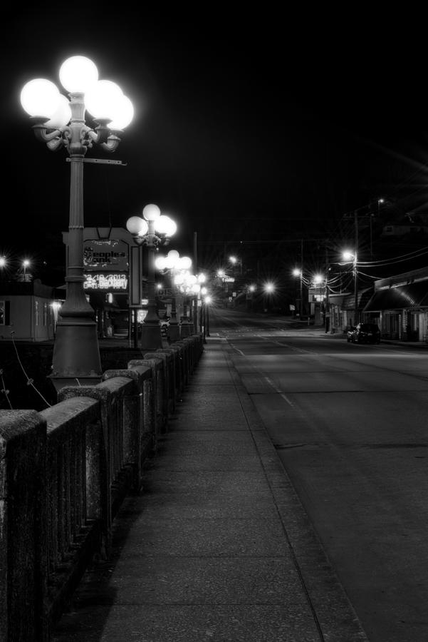 Mccaysville Photograph - Mccaysville Bridge At Night In Black And White by Greg Mimbs