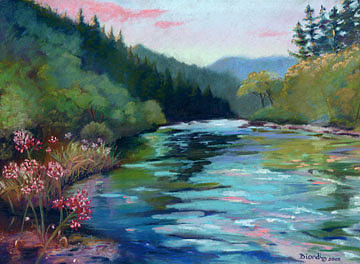 River Painting - Mccloud River Sunset by Janet Biondi