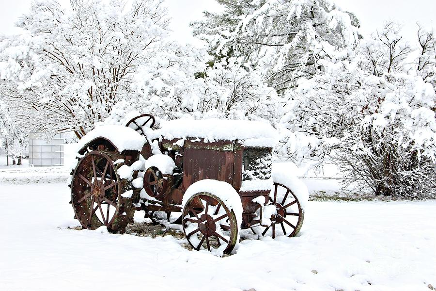 McCormick-Deering Tractor in Snow by Benanne Stiens