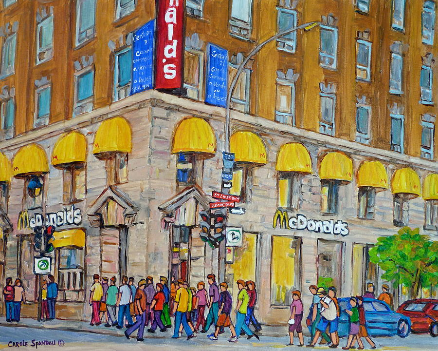 Montreal Painting - Mcdonald Restaurant Old Montreal by Carole Spandau