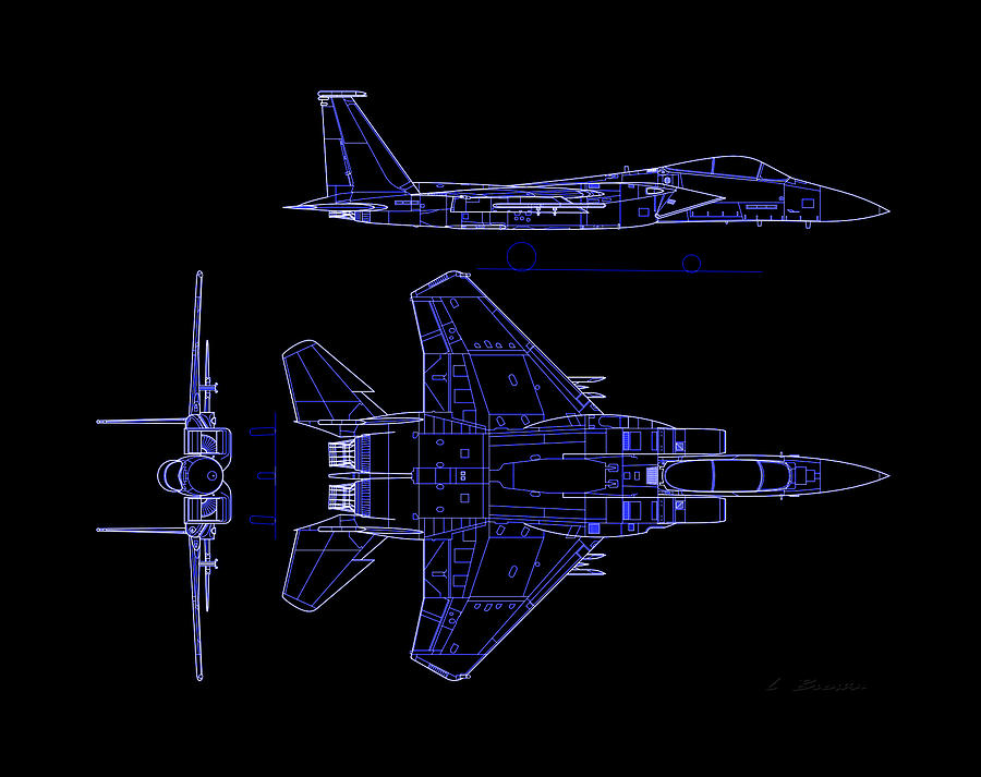 McDonnell Douglas F-15 Eagle Black Diagram Indigo Lines Photograph by L  BrownFine Art America