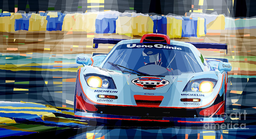 Automotive Digital Art - Mclaren Bmw F1 Gtr Gulf Team Davidoff Le Mans 1997 by Yuriy  Shevchuk