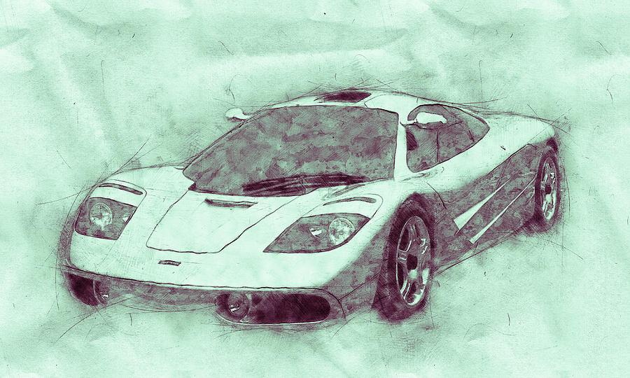 Mclaren F1 - Sports Car 3 - Roadster - Automotive Art - Car Posters Mixed Media