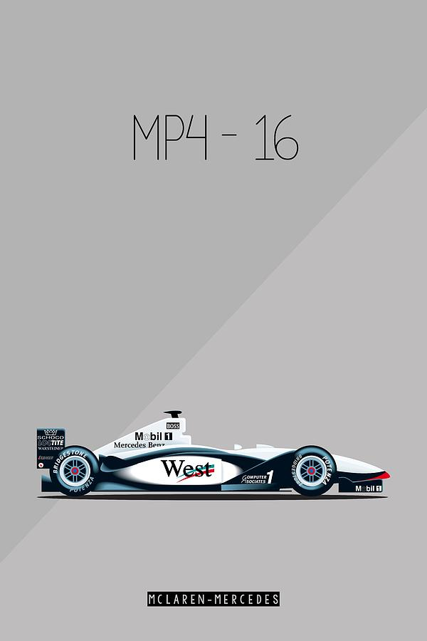 Mclaren mercedes mp4 16 f1 poster painting by beautify my for Mercedes benz wall posters
