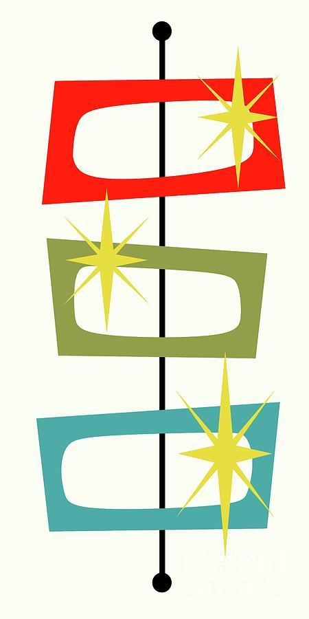 Mid Century Modern Digital Art - MCM Shapes 3 by Donna Mibus