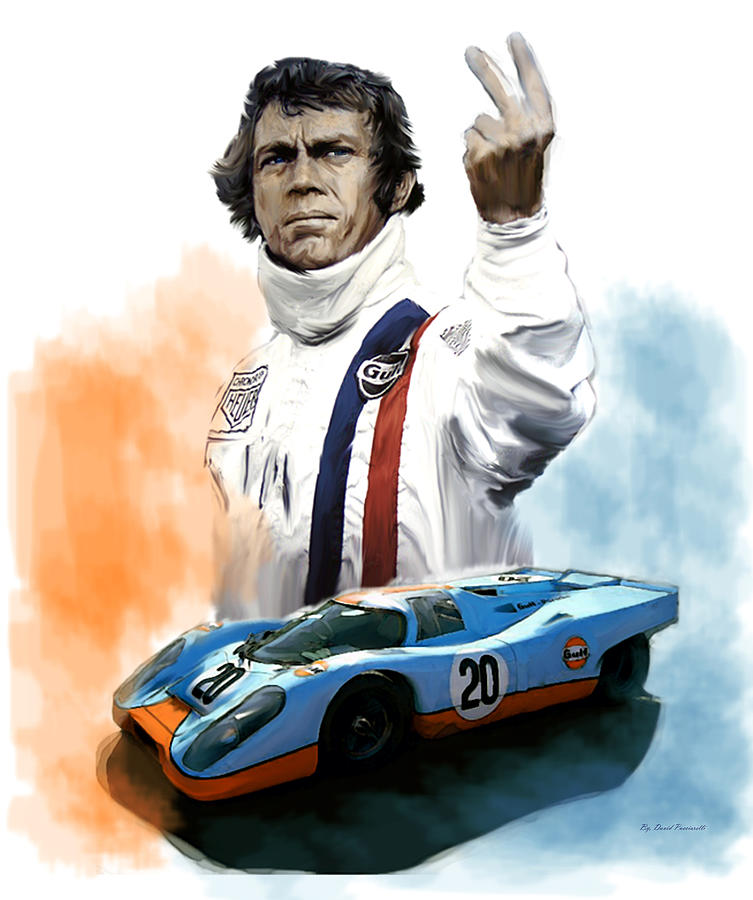 mcqueens passion le mans steve mcqueen painting by iconic. Black Bedroom Furniture Sets. Home Design Ideas