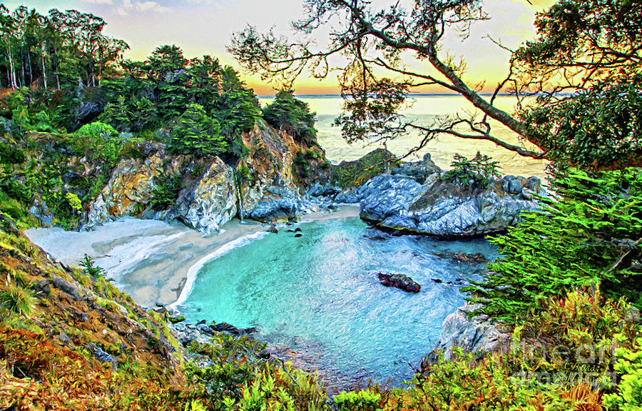 McWay Falls Canvas Print, Photographic Print, Art Print, Framed Print, Greeting Card, iPhone Case, by David Millenheft